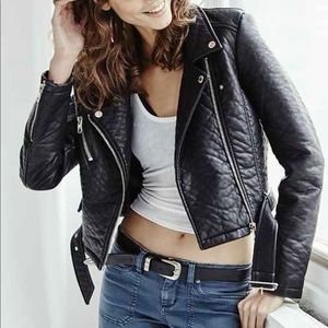 Members Only Faux Leather Jacket S Black Moto